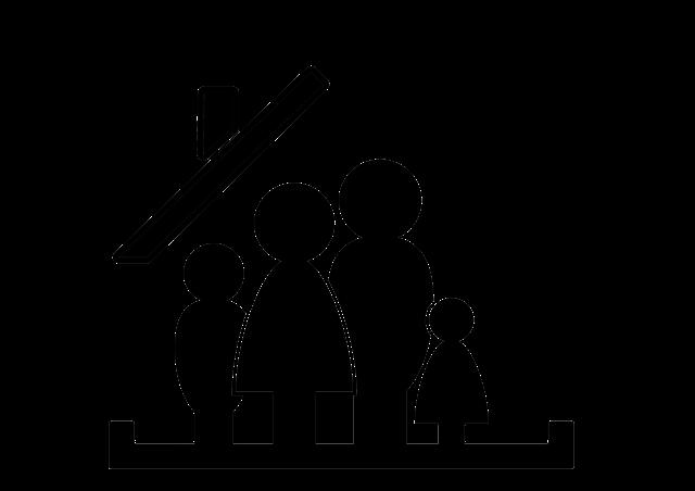 obrázek rodiny, nakreslené čtyři černé figurky